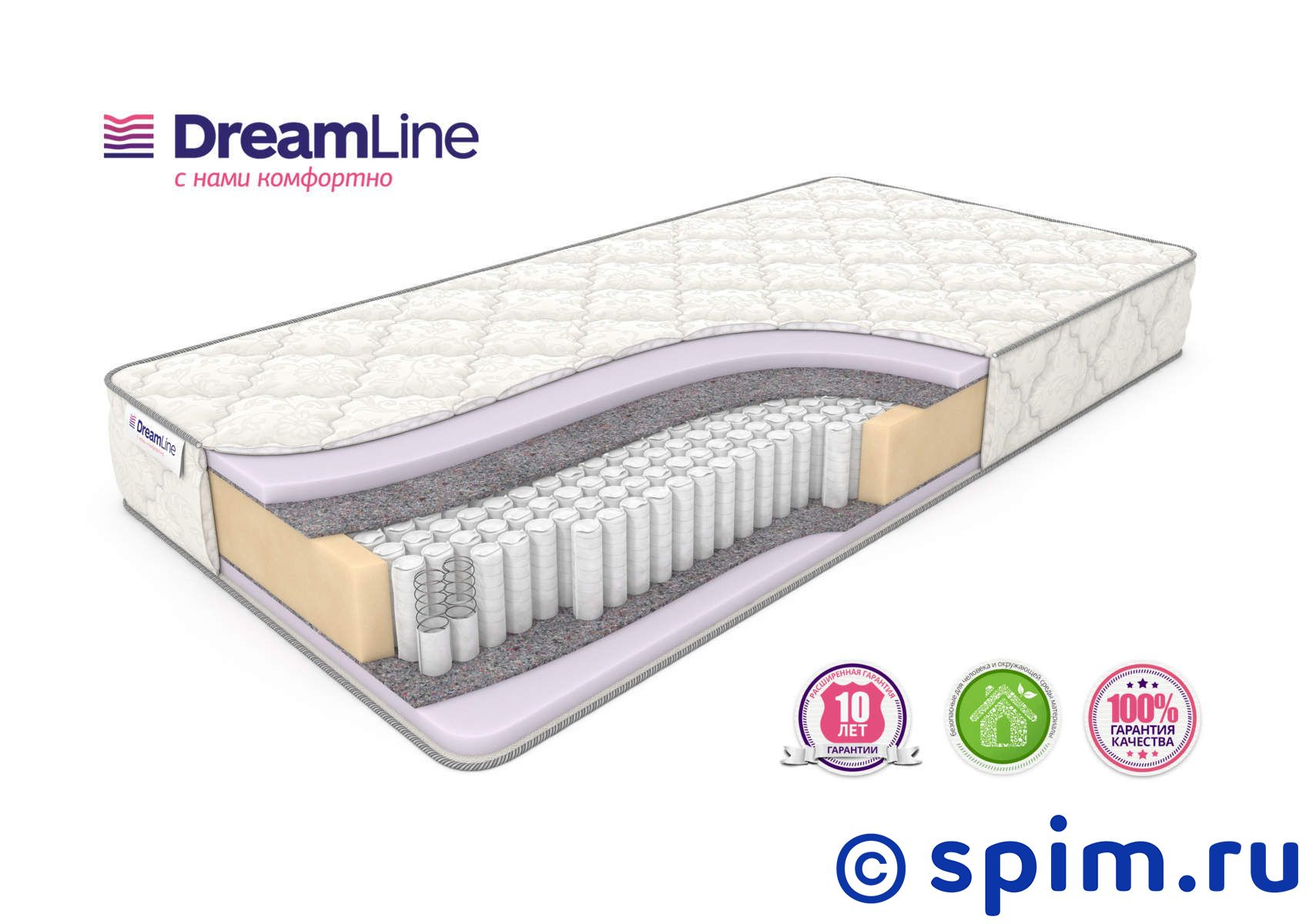 Матрас DreamLine Eco Foam S1000 200х200 см матрас dreamline memory dream s 1000 90x195
