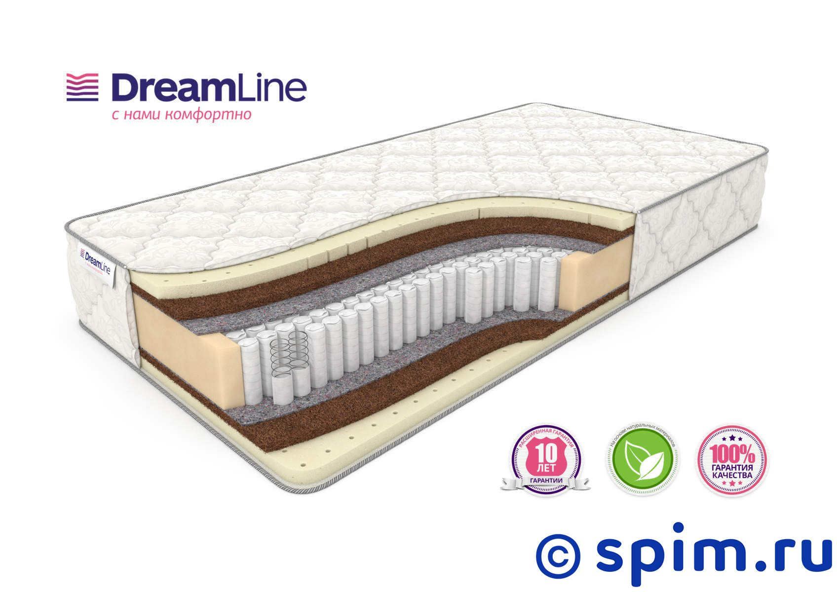 Матрас DreamLine Prime Medium S1000 200х195 см матрас dreamline balance medium s 1000 200x200