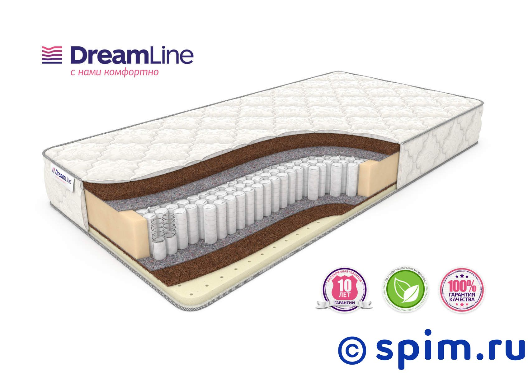 Матрас DreamLine SleepDream Hard S1000 180х195 см матрас dreamline kombi 2 s1000 150х195 см