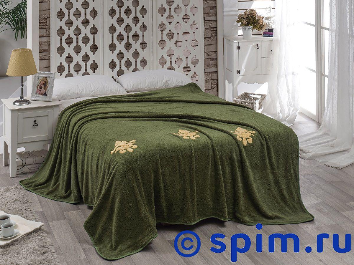 Покрывало Karna Damask с вышивкой, зеленое 200х220 см покрывало karna rose с вышивкой пудра 200х220 см