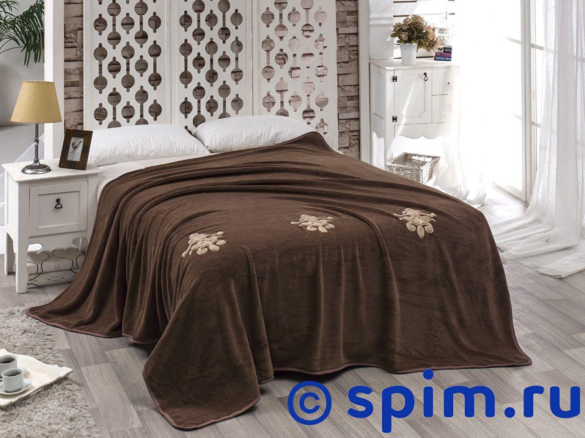 Покрывало Karna Damask с вышивкой, коричневое 200х220 см покрывало karna rose с вышивкой пудра 200х220 см