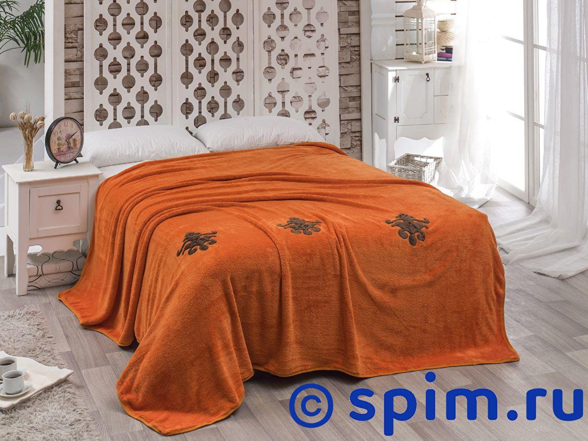 Покрывало Karna Damask с вышивкой, кирпичное 160х220 см покрывало karna rose с вышивкой пудра 200х220 см