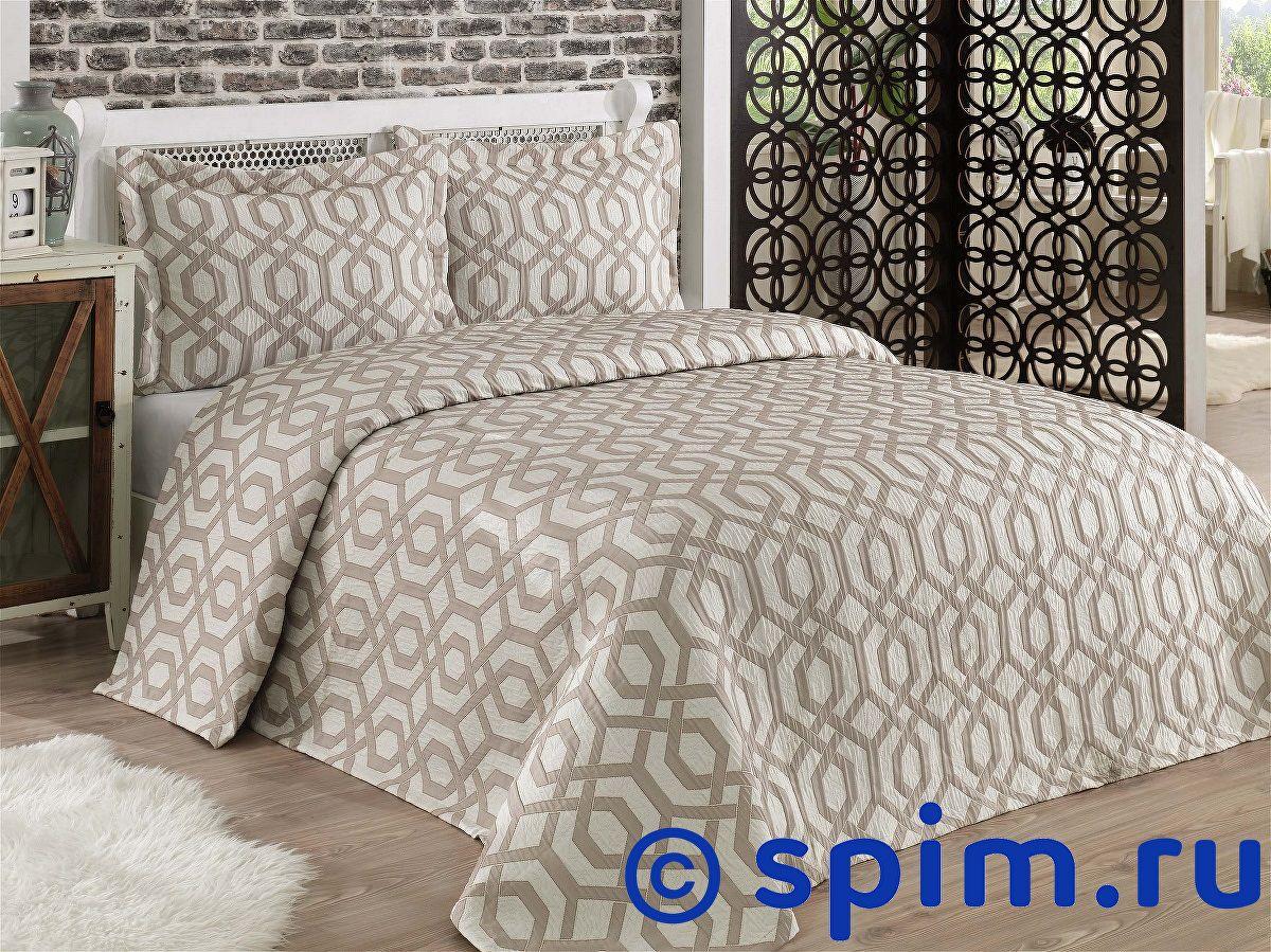 Покрывало Karna Zamora коричневое, с наволочками 260х260 см покрывало karna vartien коричневое с наволочками 260х240 см