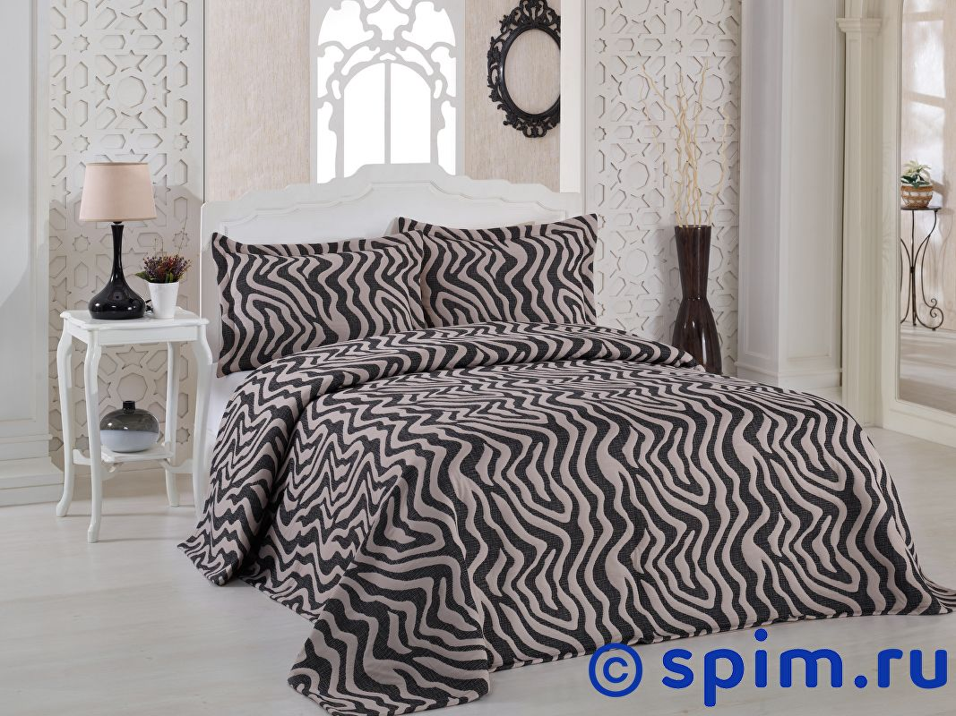 Покрывало Karna Zebra коричневое, с наволочками 260х240 см покрывало двуспальное karna zebra 240 260 см пудра