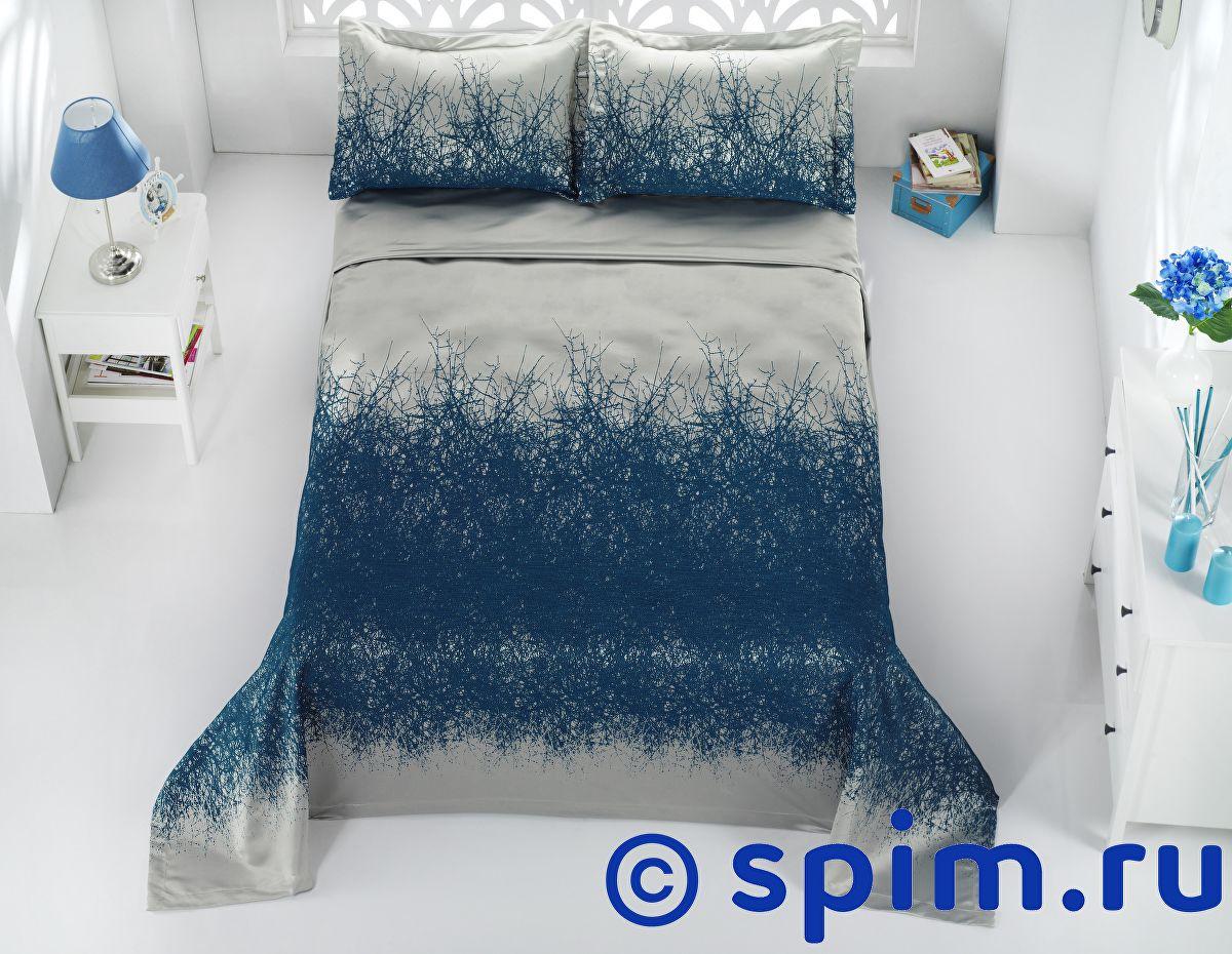 Покрывало Karna Florina синий-саксен, с наволочками 260х260 см покрывало karna zebra капучино с наволочками 260х240 см