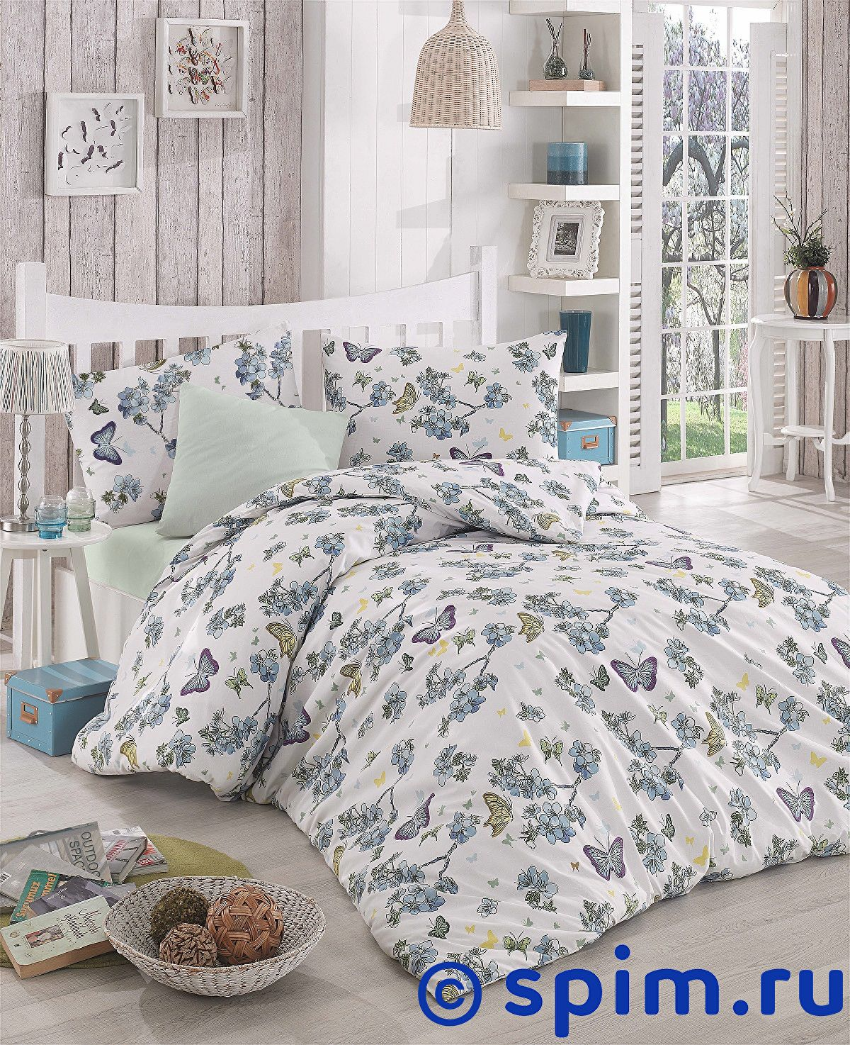 Купить Постельное белье Altinbasak Butterfle, голубой 1.5 спальное