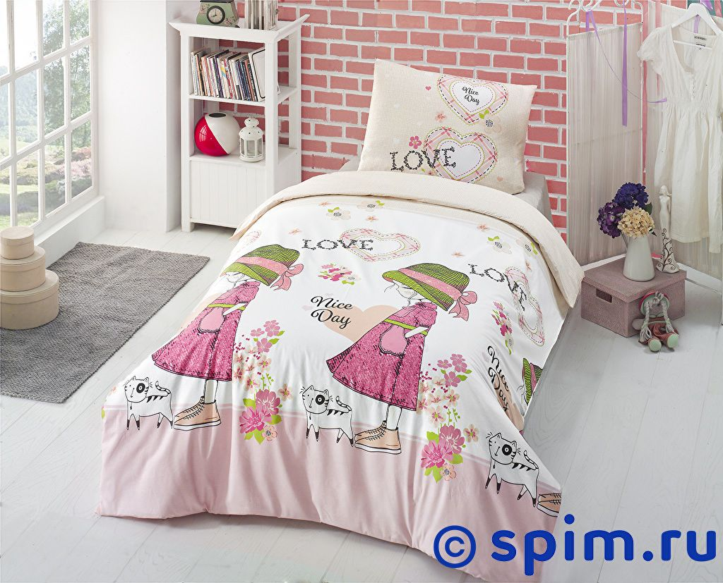 Постельное белье Altinbasak V Nice Day, розовый 1.5 спальное