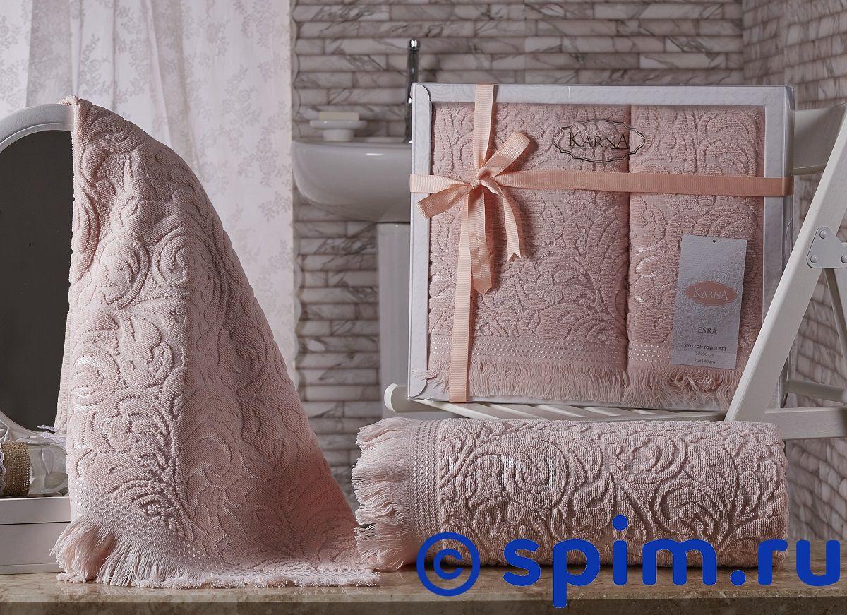 Комплект полотенец Karna Esra, абрикосовый комплект махровых полотенец karna esra 50x90 70х140 см 1158865