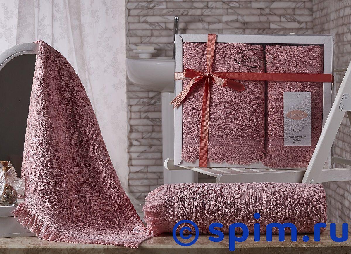 Комплект полотенец Karna Esra, розовый комплект махровых полотенец karna esra 50x90 70х140 см 1158865