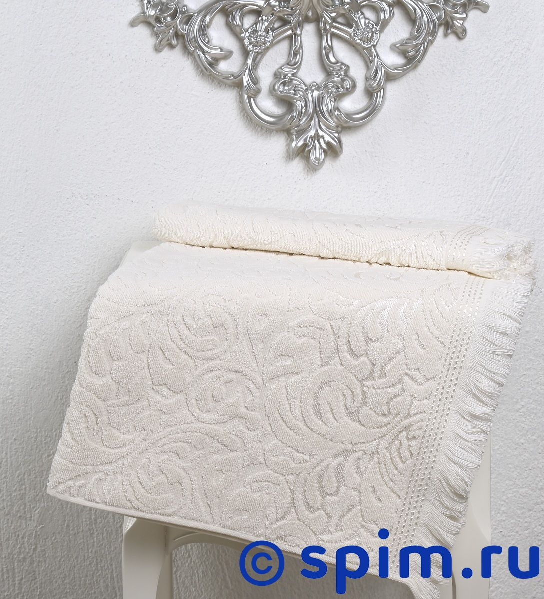 Полотенце Karna Esra 70х140 см, кремовое наматрасник karna с пропиткой 120x200 см