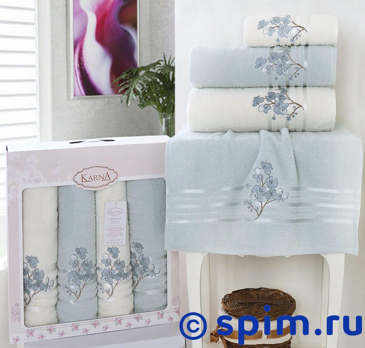 Комплект полотенец Karna Papilon, ментол арт. 2355/char002 комплект полотенец karna victory бордовый арт 2386 char002