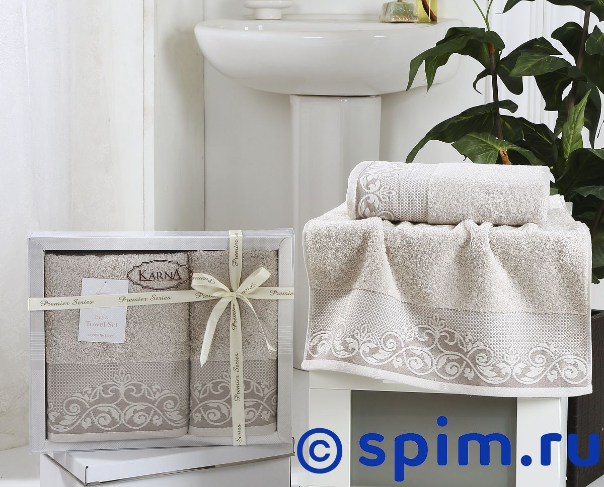 Комплект полотенец Karna Beyza, стоне покрывало karna rose с вышивкой стоне 160х220 см