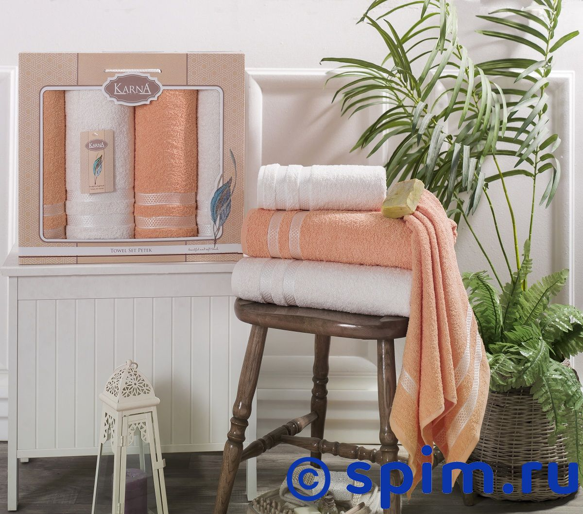 Комплект полотенец Karna Petek, кремовый и абрикосовый наматрасник karna с пропиткой 120x200 см