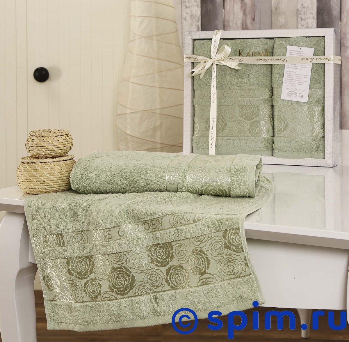 Комплект полотенец Karna Rose Garden, зеленый
