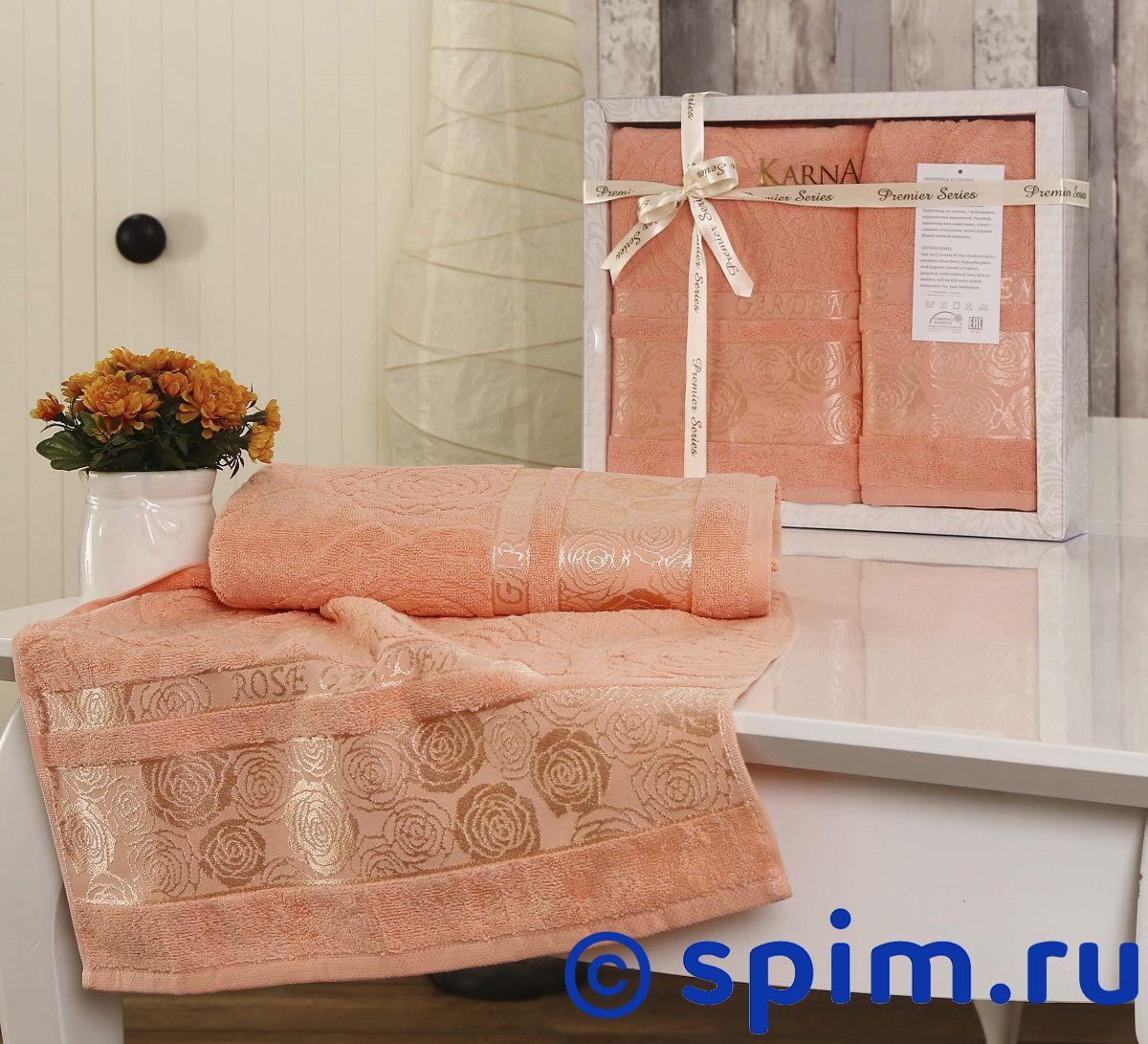 Комплект полотенец Karna Rose Garden, коралловый