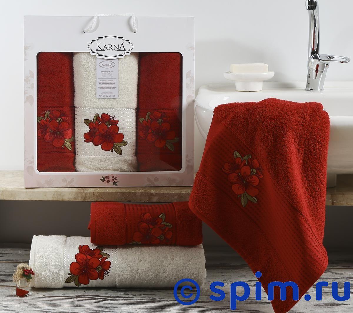 Комплект полотенец Karna Orkide, бордовый арт. 2361/char002 комплект полотенец karna victory бордовый арт 2386 char002