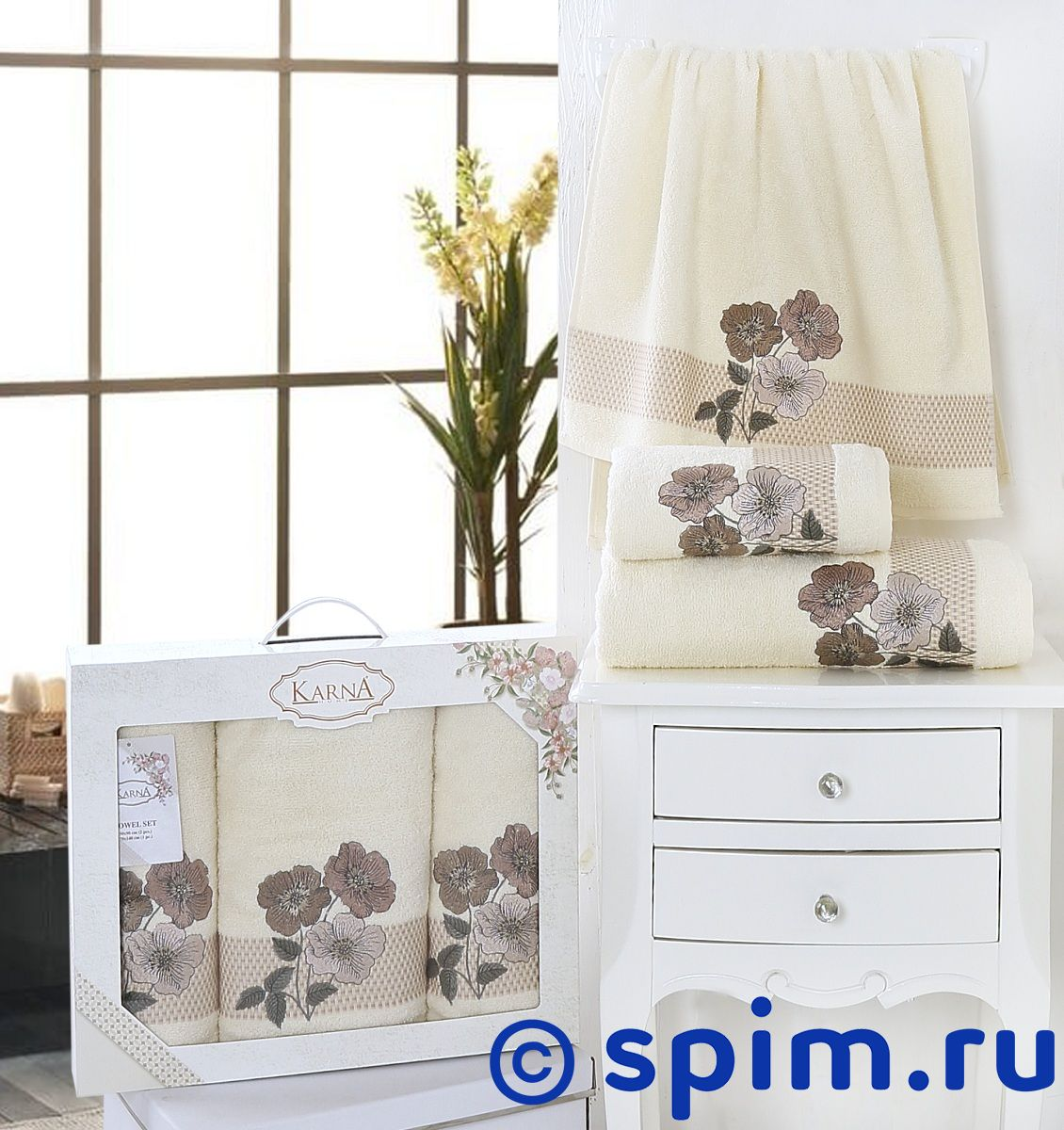 Комплект полотенец Karna Sandy, кремовый арт. 2391/char002 комплект полотенец karna victory бордовый арт 2386 char002
