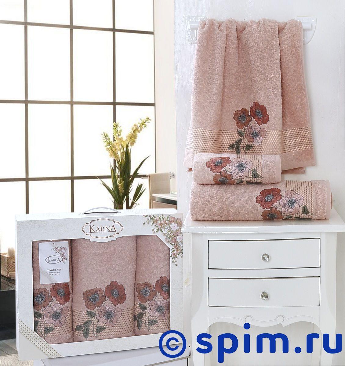 Комплект полотенец Karna Sandy, пудра арт. 2391/char003 покрывало karna покрывало evony цвет пудра 240х260 см