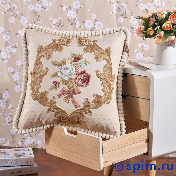 Декоративная наволочка Kazanov.a. Гобелен Букет, бежевый