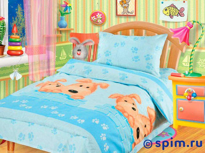 Постельное белье в детскую кроватку Собачки Непоседа голубой