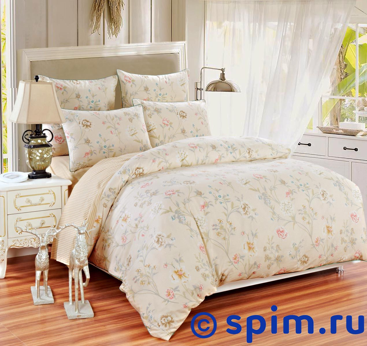 Постельное белье Sofi De Marko Вероника, бежевый Евро-стандарт постельное белье sofi de marko патриция пудра евро стандарт