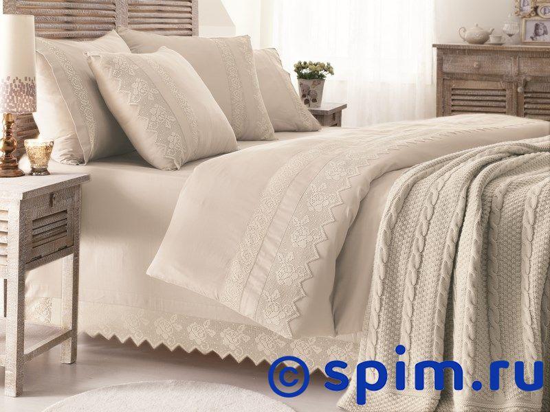 Постельное белье Gelin Home Erguvan с пледом, бежевый Евро-стандарт