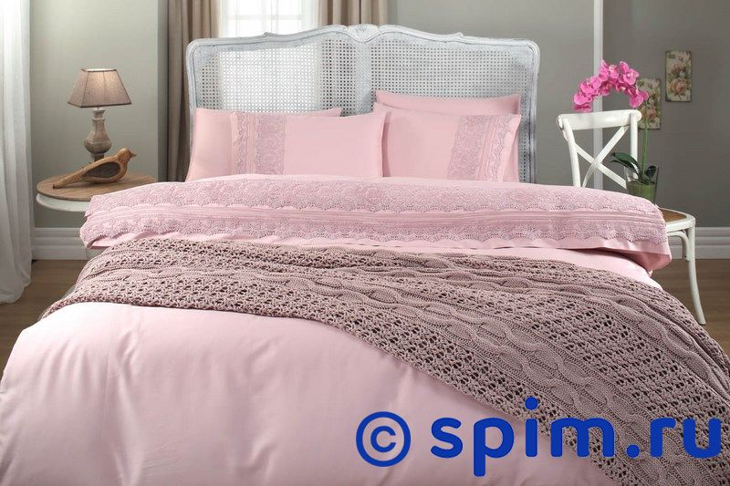 Постельное белье Gelin Home с пледом, Selin темно-розовый Евро-стандарт