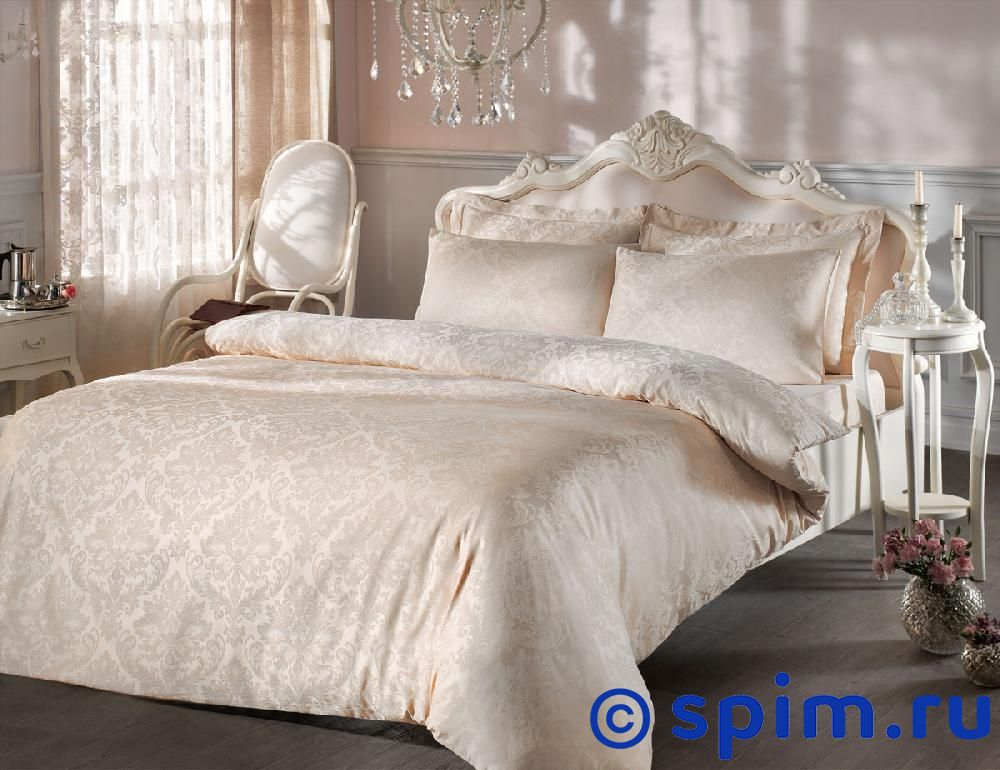 Купить Жаккардовое постельное белье Tivolio Bambura, бежевое Евро-стандарт, Bambura жаккард, бежевое, Tivolyo
