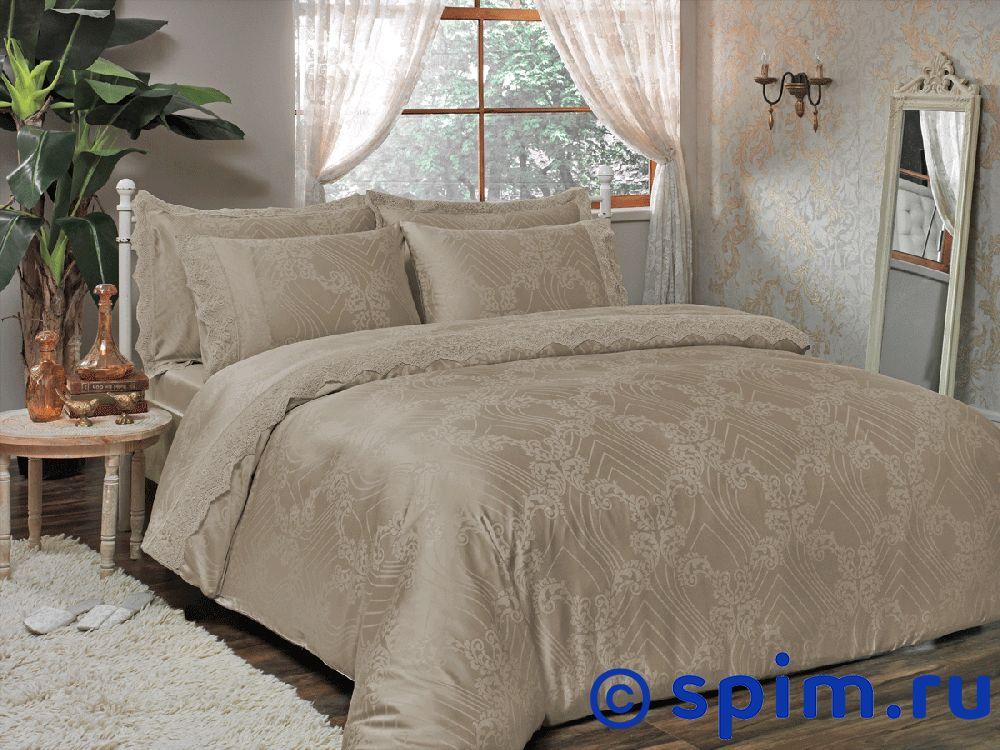 Купить Жаккардовое постельное белье Tivolio Princess, бежевое Евро-стандарт, Princess жаккард, бежевое, Tivolyo