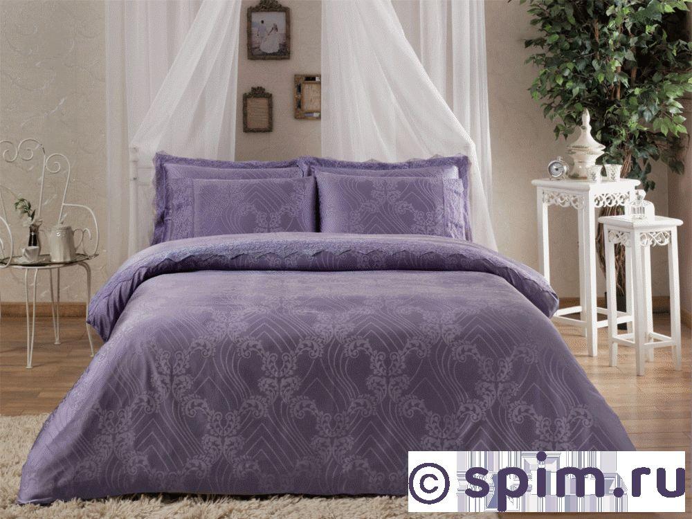 Жаккардовое постельное белье Tivolio Princess, лиловое Евро-стандарт