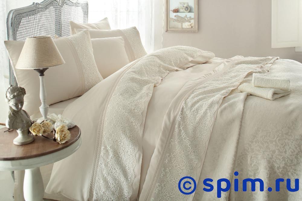 Постельное белье Gelin Home с покрывалом, Evin темно-розовый Евро-стандарт