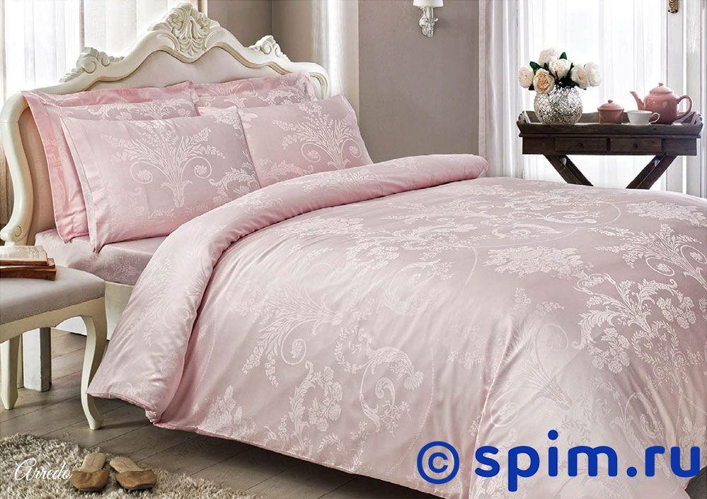 Жаккардовое постельное белье Tivolio Arredo, розовое Евро-стандарт постельное белье tivolyo delux viola евро стандарт