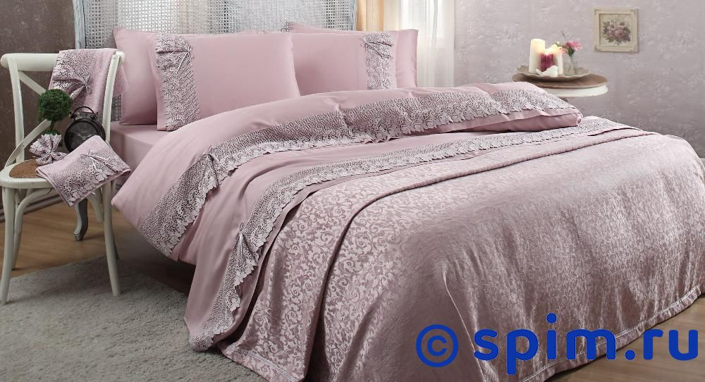 Постельное белье Gelin Home с покрывалом, Caroline лиловый Евро-стандарт