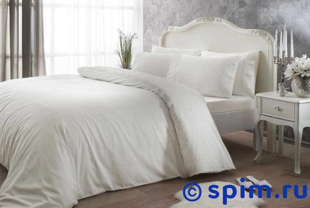 Постельное белье Tivolyo Delux Marlow, кремовый Евро-стандарт постельное белье tivolyo delux viola евро стандарт