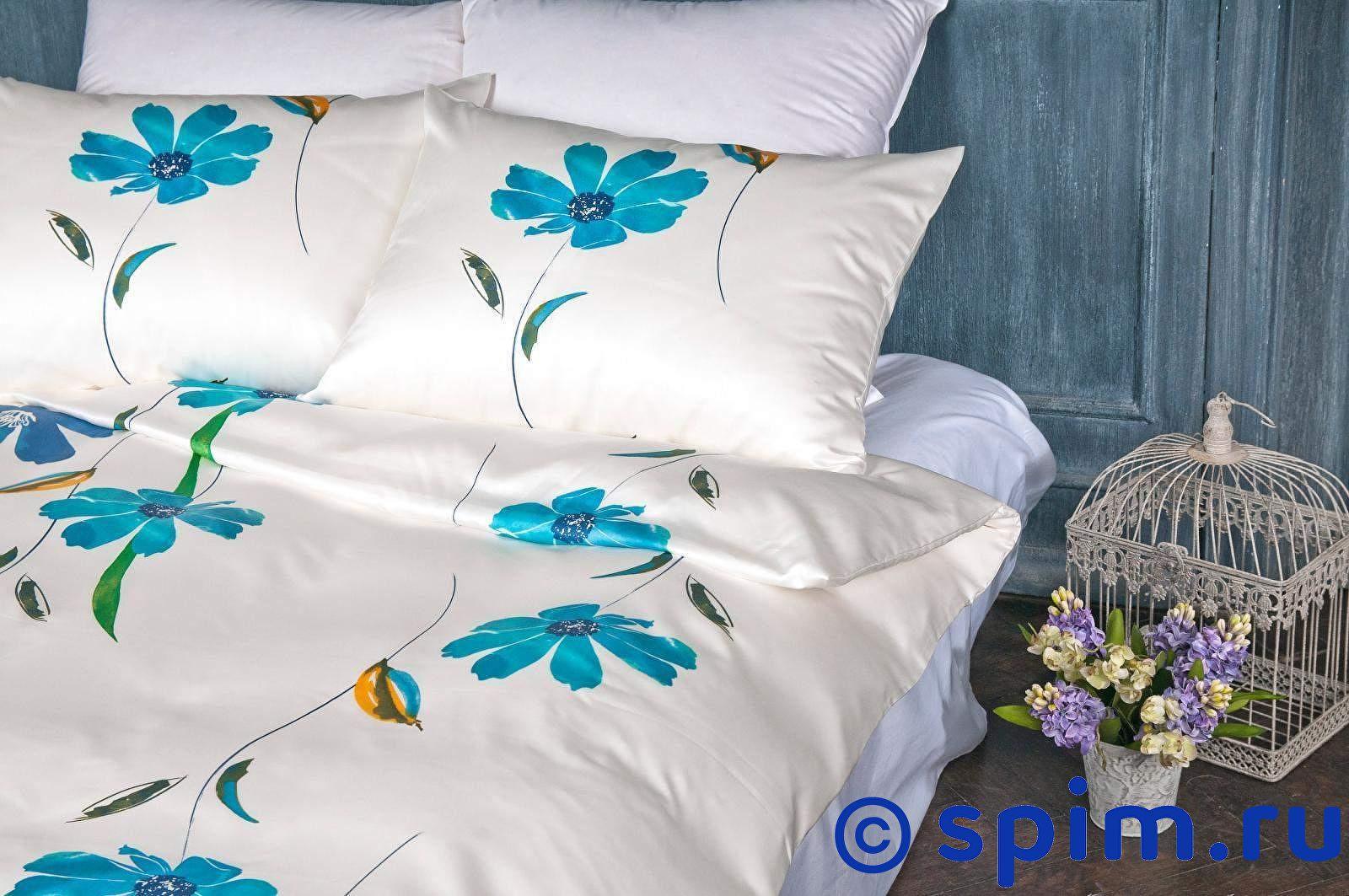 Купить со скидкой Постельное белье Johann Hefel Aquarellblumen, синие цветы Евро-стандарт