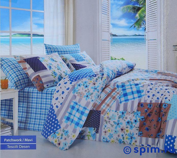 Постельное белье Cotton Life Patchwork (50х70 см), голубой Евро-стандарт restline подушка cotton 50 70