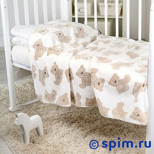 Плед Отк Бежевые мишки на белом 100х150 см