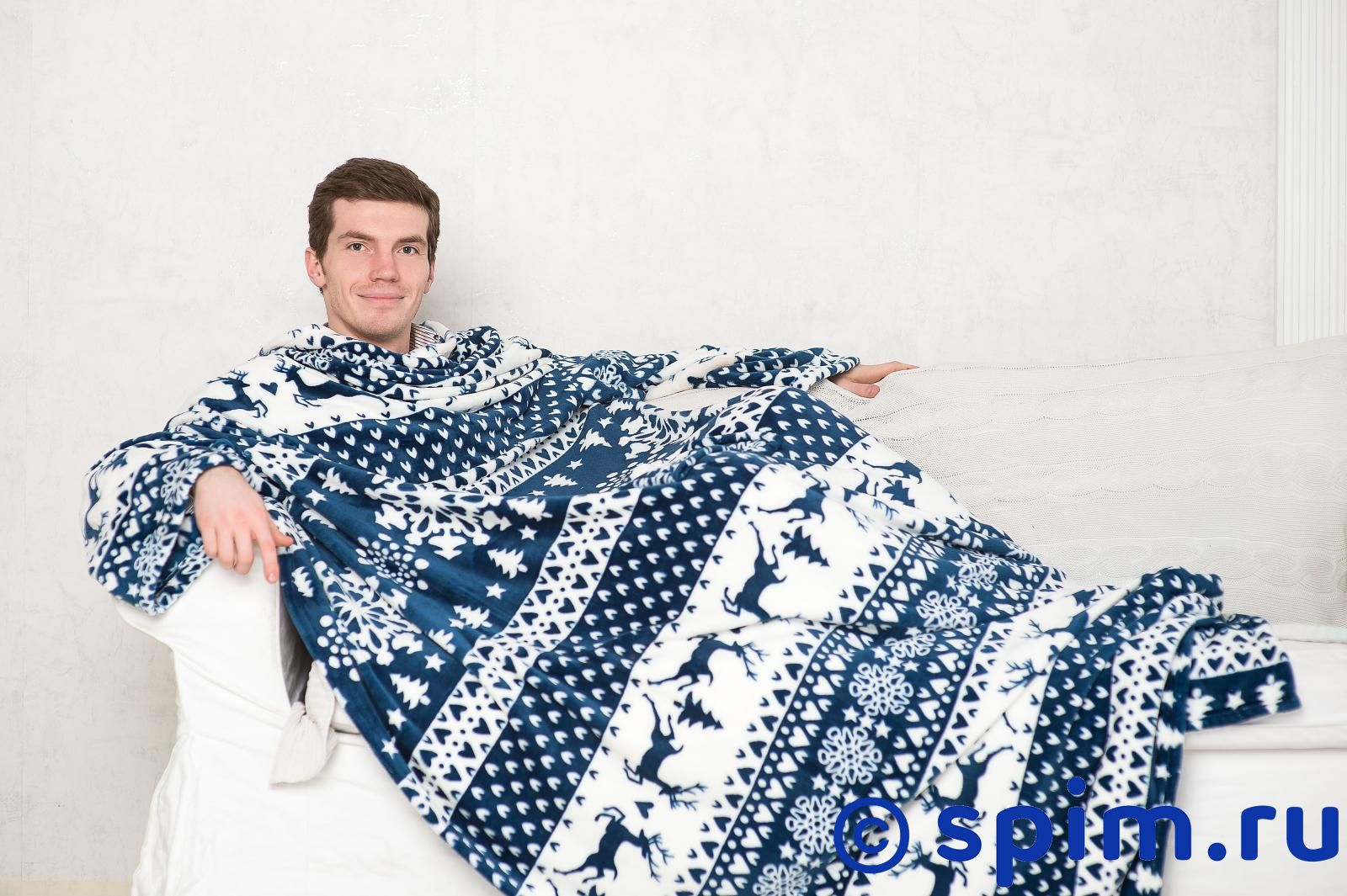 Плед Sleepy Year с рукавами и поясом, бело-синий с оленями
